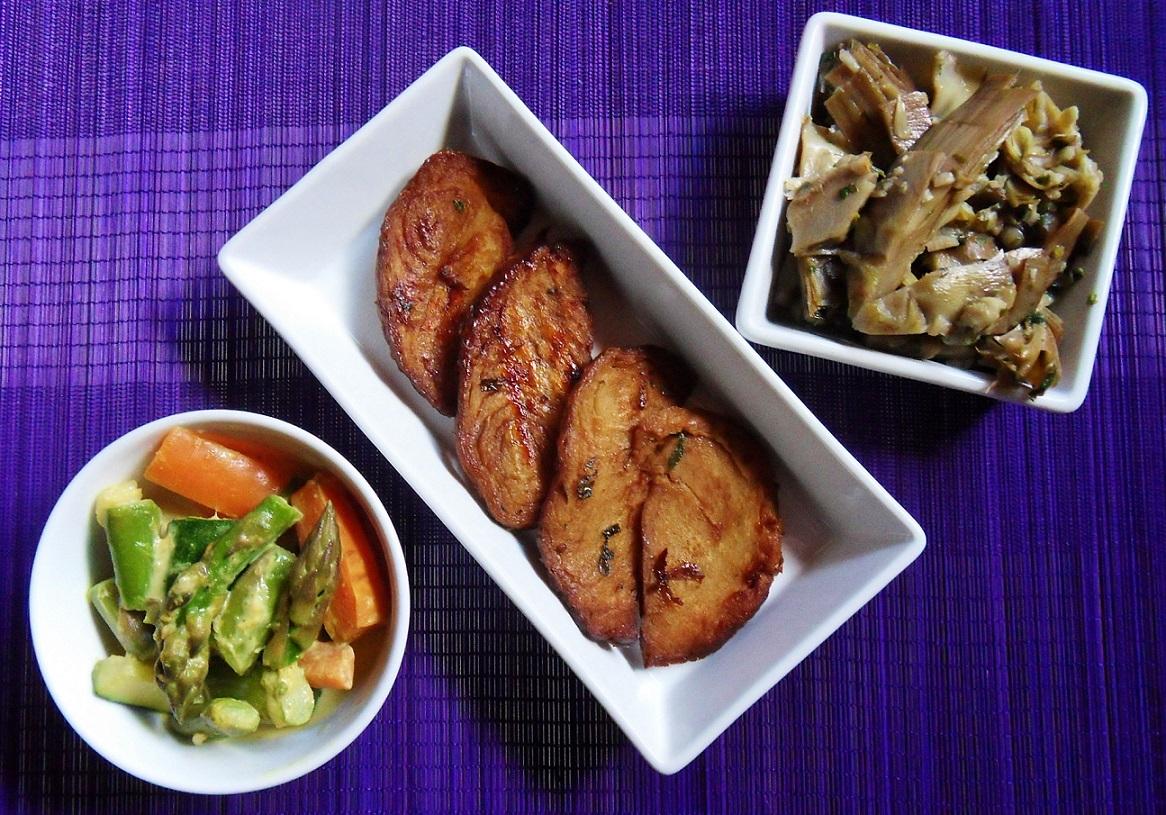 Carciofi in padella asparagi e carote al latte di cocco e curry